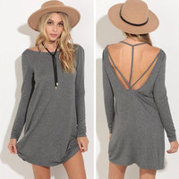 2016 Sexy Long Backless Long Sleeve Solid Erotic Casual Party Playsuit Clubwear Bodycon Boho Dress _ 9152