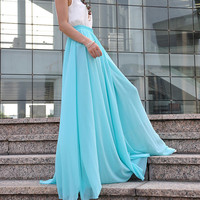High Waist Maxi Skirt Chiffon Silk Skirts Beautiful Bow Tie Elastic Waist Summer Skirt Floor Length Long Skirt (037), #28