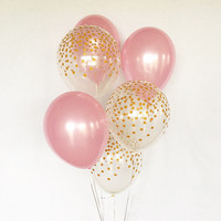 Pink and Gold Confetti Latex Balloons~Pink & Gold First Birthday~Baby Shower~Bridal Shower~Wedding~Bridal Shower~Gold Confetti Look Balloon