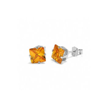 18k White Gold Princess Yellow Crystal Diamond Stud Earrings