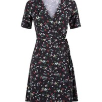 Black Floral Soft Touch Wrap Front Dress | New Look