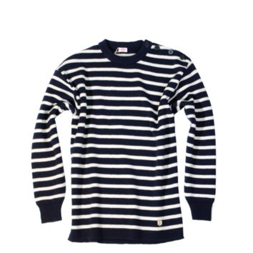 Fouesnant Wool Sweater, Navy / Nature