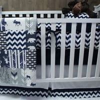 Baby Boy Nursery Bedding Set , Baby , Woodland , Deer , Moose , Arrow  ,  Chevron , Baby Bedding , Crib Bedding , Babylooms