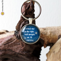 Peter Pan Second Star quote keychain-silver color keychain-100% Satisfaction Quality guaranteed- 1 in circle glass pendant - by NATURA PICTA