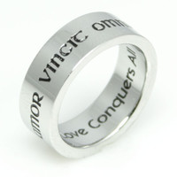 Amor Vincit Omnia Love Conquers All Stainless Steel Poesy Ring -Size