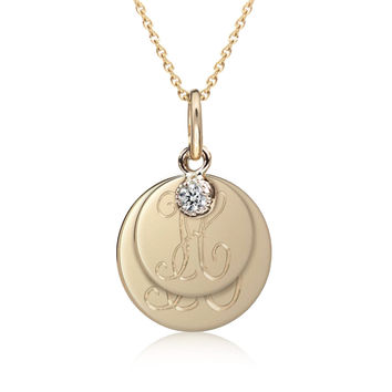 2 Initial Disc Necklace with Dahlia Charm