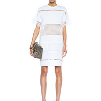 Long Tee Dress with Stripe Detail in Optic White