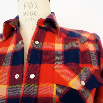 Western Plaid Flannel / vintage red & blue check shirt / men's small