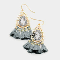 Grey & Gold Beaded Metal Teardrop Thread Tassel Earrings