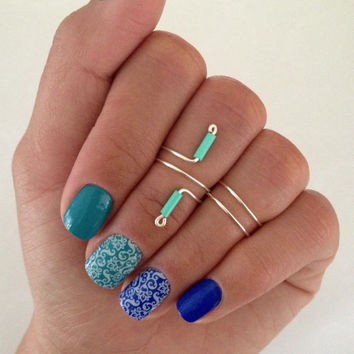 Unique Turquoise 3 Midi Ring Set, turquoise colored glass bead ring and 2 simple bands