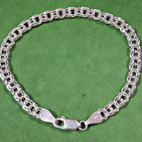 7 Inch Chain Bracelet Double Curb Chain Charm Bracelet Starter Chain 925 Italy Italian Silver 5 mm Wide Shiny Silver Durable Chain Clasp