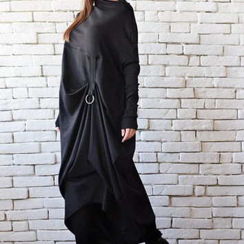 NEW Extravagant Black Long Sleeve Dress/Plus Size Maxi Dress/Black Maxi Dress/Front Effect Long Tunic/Oversize Casual Top/Loose Black Tunic