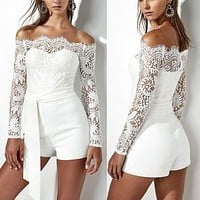 Women Romper Floral Lace Playsuit Long Sleeve Off Shoulder Jumpsuit Shorts Dress