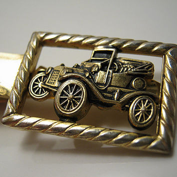 Vintage Tie Clip Gold Tone Anson Antique Car Mens Mid Century Hipster Figural Jewelry Fathers Day