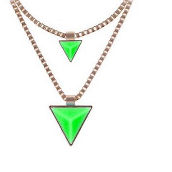 Fashion Gold Double Layer Chain Triangle Pendant Necklace