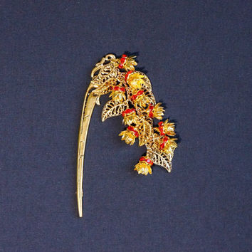 Hairstick Hair stick with red crystal flowers Hairstick with floral charm Asian style hairstick Gift for her Metal hair stick gold tone