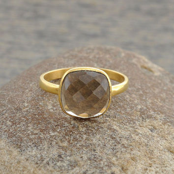 Smoky Quartz Ring - Bezel Ring-10mm Cushion Ring-Gemstone Ring-Micron Gold Plated Ring-Sterling Silver Ring #1246