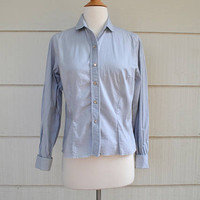 Vintage Women's Tailored Blouse, Macshore Classics, NOS, Silvery Gray, French Cuffs, Pleated Placket, Bust Size 34, 1960s