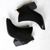 almond toe chunky wood heel western bootie - more colors