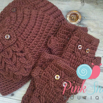 Crochet Owl Beanie Hat and Fingerless Texting Gloves Wrist Warmers