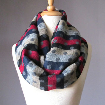 Striped scarf, infinity scarf, stripes and dots scarf, winter scarf, gift for her, Christmas gift