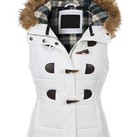 LE3NO Womens Classic Toggle Padded Puffer Jacket Vest with Faux Fur Trim Hood