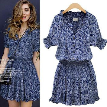 Floral Cotton Casual Chiffon V Neck Mini Dresses Women Dress Fashion Ready Stock