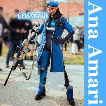 [STOCK]Game OW figure Ana Amari 2 styles Bodysuit+PU Trench+Hat Mother of Pharah Halloween Cosplay costume New 2018 free shippin