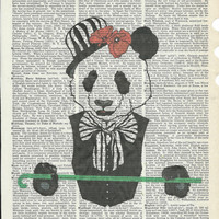 Dictionary Art Print Panda in Bowler Hat with Walking Stick on Upcycle Vintage Page Book Print Art Print Dictionary Print Collage Print