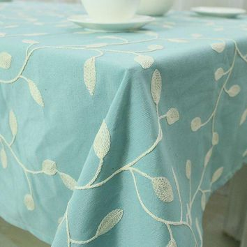 Embroidered Cotton Table Cloth Crochet Leaf Tablecloth Embroidery  Dustproof Square Rectangular Dinning Table Cover Home Textile