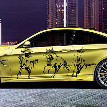 horse car hood decal horse Car Decals horse Car Truck horse Side Body Graphics Decal horse Sticker for car kikcar36