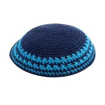 C KNITTED KIPPAH 15 CM- BLUE WITH COLORS AROUND