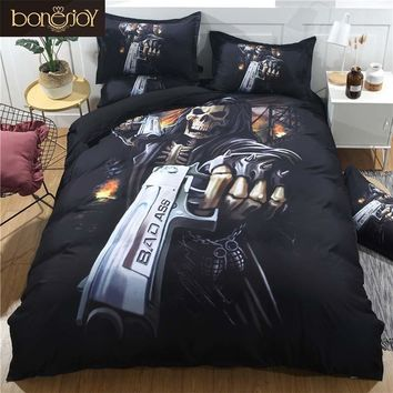 Cool Bonenjoy Black Skull Bedding Set Duvet Cover King Size Skull Bed Sheet Set Queen Size Pistol Skull Quilt Cover Pillowcase SetsAT_93_12