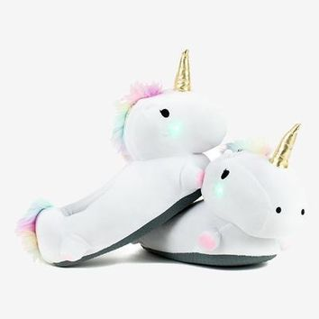Unicorn Adult Light Up Plush Slippers - LAST PAIR!