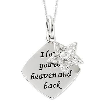 I Love You To Heaven and Back Silver Star Necklace with Cubic Zirconia