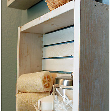 Wall Shelf, Bathroom Shelf, Beach Crate Shelf, Beach Shelf, Nautical Shelf, Wood Shelf, Rustic Shelf