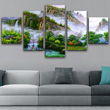 Canvas Painting Wall Art Landscape Painting Mountain Waterfall for Living Room Home Decor Modular Poster Layered Wall Pictures