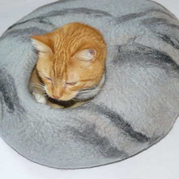 Hand Felted Cat Bed / Cat Cave / Cat Den / Cocoon / Cat House / With blends of white, grey and black swirls plus GIFT