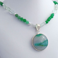 Agate Quartz Sterling Silver Pendant Necklace, Green Agate and Stone Pendant Necklace, Affordable Statement Jewelry, Any Time Jewelry