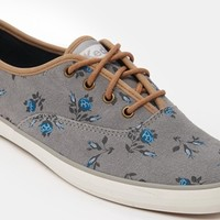 Keds Champion Suede Grey Floral Plimsoll Trainers