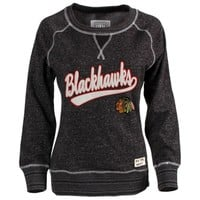 Women's Chicago Blackhawks Old Time Hockey Black Seneca Snow Fleece Crew Sweatshirt