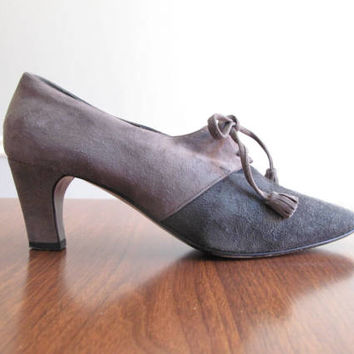gray suede heels - 80s vintage Donna Karan charcoal soft genuine leather oxford lace up tassel pumps menswear inspired shoes size 6.5