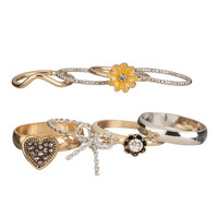 Mixed Metal Heart And Bow Midi Ring Set - Mixed Metal