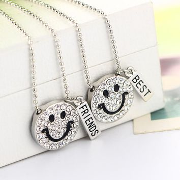 Lovely Smile Emoji Rhinestone Pendant for Necklaces with 2 Pcs Lettering Best Friends