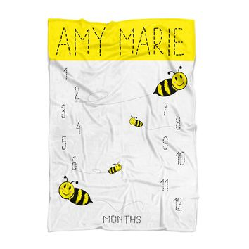 Baby Milestone Blanket - Bumble Bee - Personalized Baby Blanket - Track Growth and Age - New Mom Baby Shower Gift - Black and Yellow