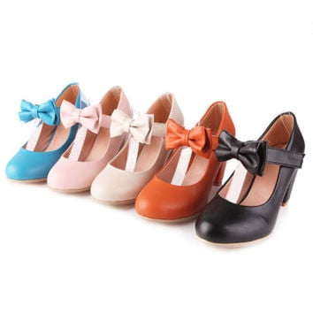 7d35c3f29edc3 Womens Sweet Candy Color Mary Janes Pumps Heel Lolita Bowknot Shoes Plus  Size