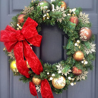 Christmas Wreath with Bow - Copper and Gold - Gold Wreath