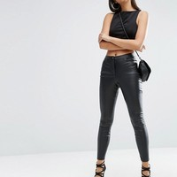 ASOS Leather Look Stretch Skinny Trousers at asos.com