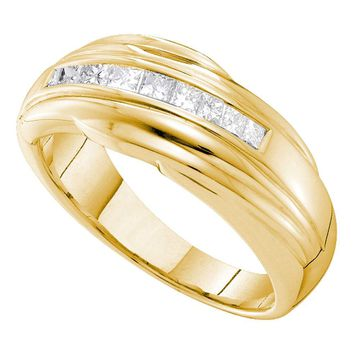 14kt Yellow Gold Mens Princess Channel-set Diamond Single Row Wedding Band Ring 1/2 Cttw