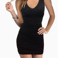 Black V-Neck Beaded Dress